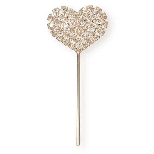 Rose Quartz Diamante Solid Heart on Stem