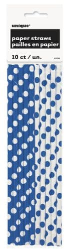 Royal Blue Dots Paper Straws 10's