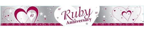 Ruby 40th Anniversary Foil Banner 9ft