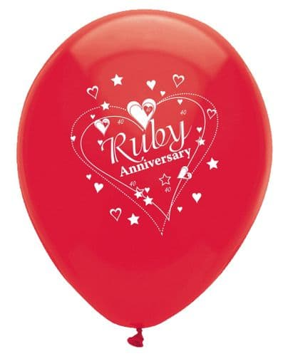 """Ruby Anniversary Latex Balloons Pearlescent 2 Sided Print 6 x 12"""" per pack"""