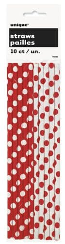 Ruby Red Dots Paper Straws 10's