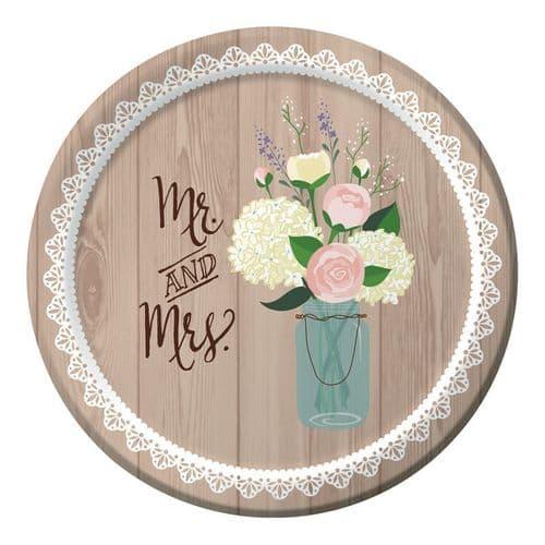 "Rustic Wedding Banquet Plates Sturdy Style 8 x 10"""
