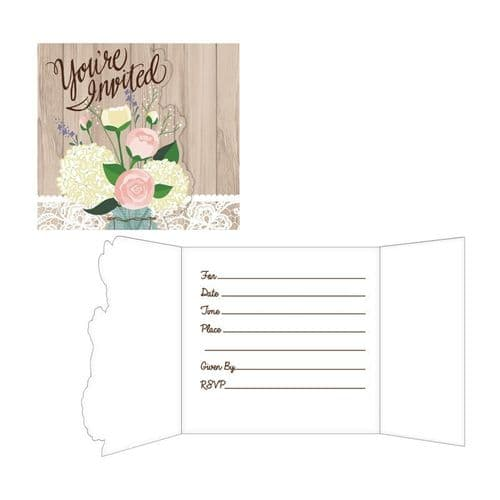 Rustic Wedding Gatefold Invitations with Envelopes 8's
