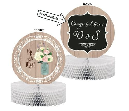 Rustic Wedding Honeycomb Centrepiece Includes 1 Piece of Chalk