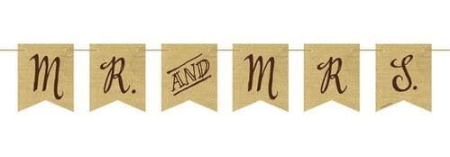 Rustic Wedding Mr & Mrs Pennant Banner with Twine 10ft