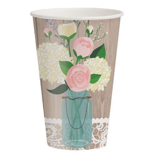 Rustic Wedding Paper Cups 8's