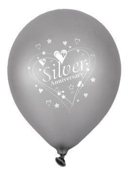"""Silver Anniversary Latex Balloons Pearlescent 2 Sided Print 6 x 12"""" per pack"""