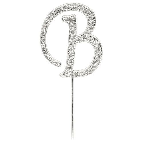 Silver Diamante Letter B on Stem  (sold separately)