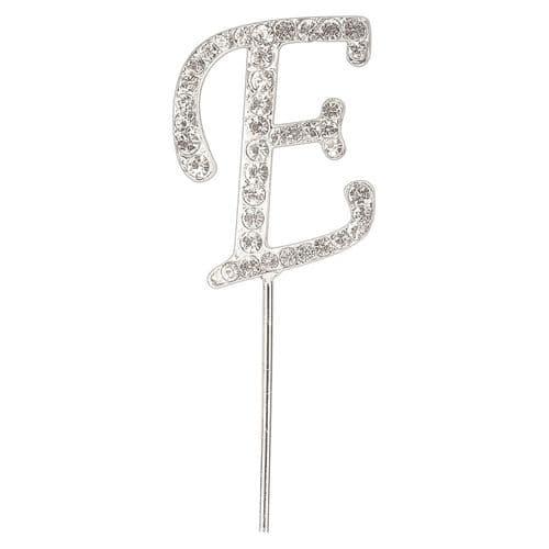 Silver Diamante Letter E on Stem  (sold separately)