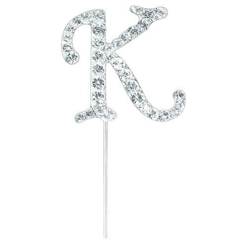 Silver Diamante Letter K on Stem  (sold separately)