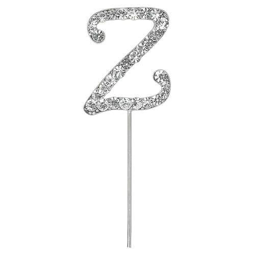 Silver Diamante Letter Z on Stem  (sold separately)