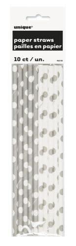Silver Dot Paper Straws 10's