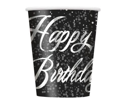 Silver Glitz Happy Happy Birthday 9oz Cups 8's