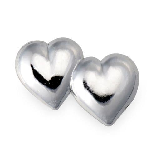 Silver Plastic Double Hearts / Flat - pack of 10