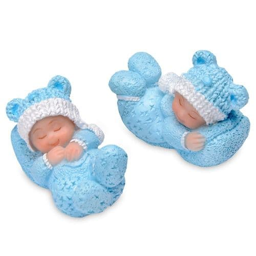 Small Resin Sleeping White Baby in blue - 4 pieces