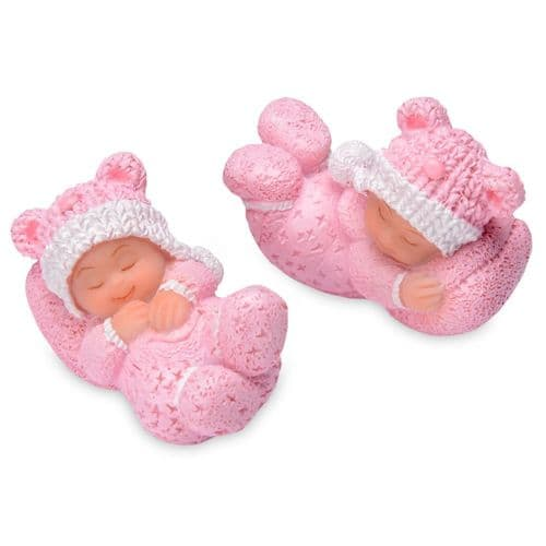 Small Resin Sleeping White Baby in pink - 4 pieces