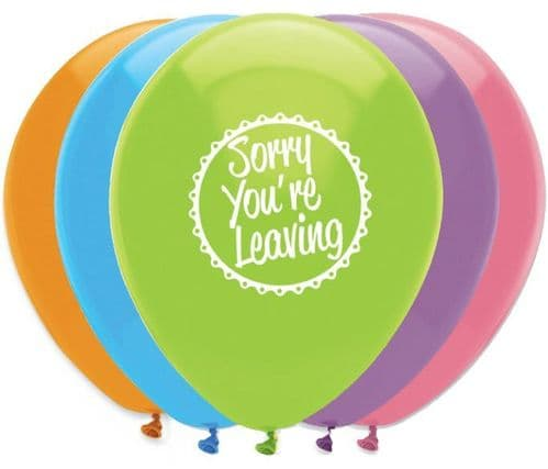 """Sorry You're Leaving Latex Balloons 2 Sided Print 6 x 12"""" per pack"""