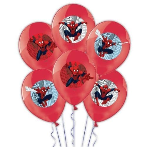 """Spider-Man 4 Colours Printed Latex Balloons 11""""/27.5cm 6's"""