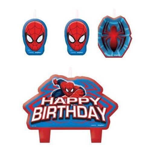 Spider-Man Birthday Cake Candle Set 4's