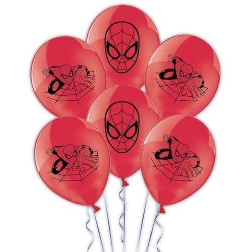 "Spider-Man Printed Latex Balloons 11""/27.5cm 6's"
