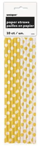 Sun Yellow Dots Paper Straws 10's