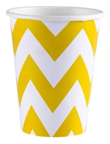 Sunshine Yellow Chevron Paper Cups, 256ml 8 per pack.