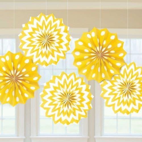 Sunshine Yellow Dots & Chevron Paper Fans 20cm pack of 5.