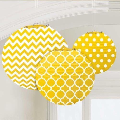 Sunshine Yellow Dots & Chevron Round Lanterns 24cm pack of 3.