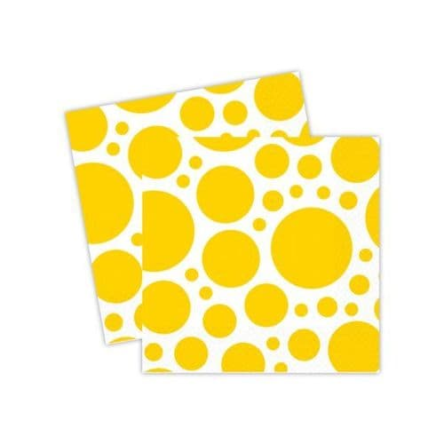 Sunshine Yellow Dots Luncheon Napkins 33cm 20 per pack.