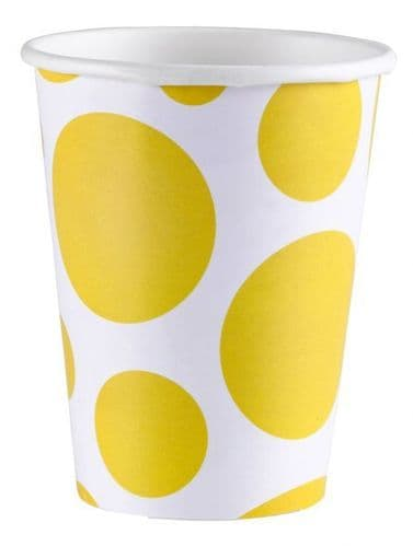Sunshine Yellow Dots Paper Cups 266ml 8 per pack.