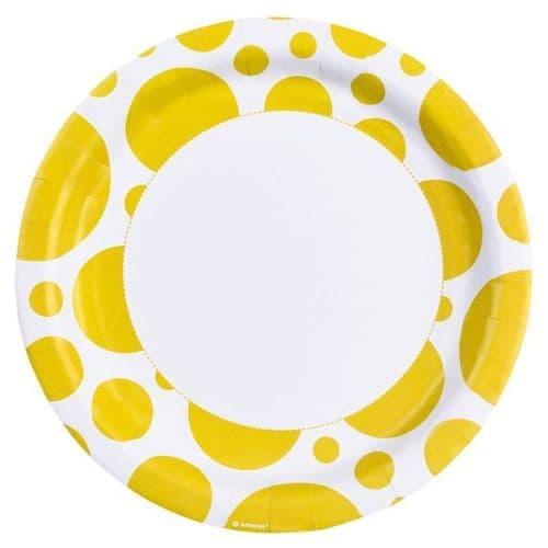 Sunshine Yellow Dots Paper Plates 23cm 8 per pack.
