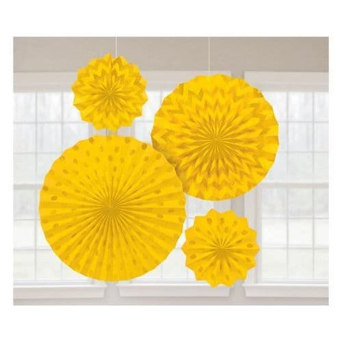 Sunshine Yellow Glitter Paper Fans/4