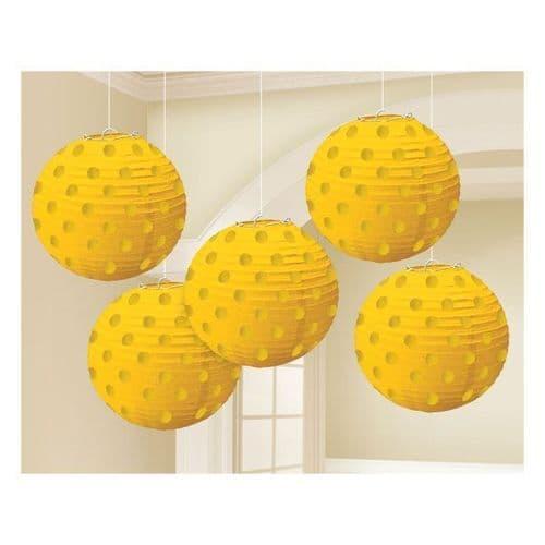 Sunshine Yellow Hot Stamped Paper Lanterns 12cm pack of 5.
