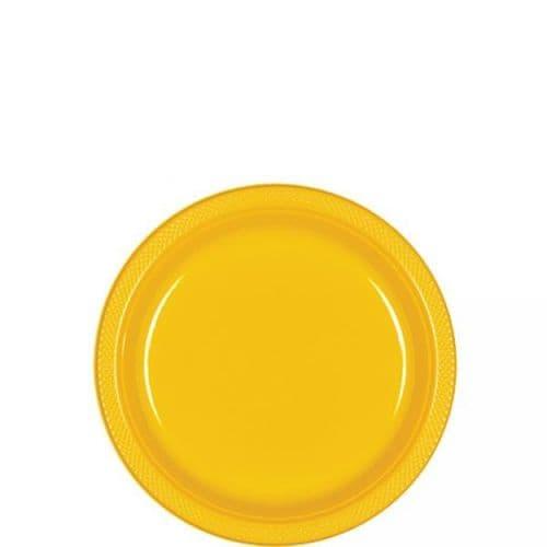 Sunshine Yellow Plastic Plates  - 17.7cm  20 per pack.