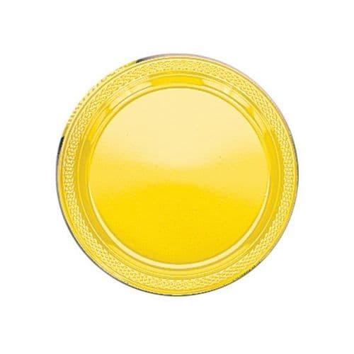 Sunshine Yellow Plastic Plates 22.8cm  20 per pack.