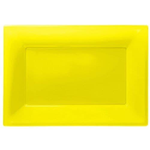 Sunshine Yellow Plastic Serving Platters pack of 3.