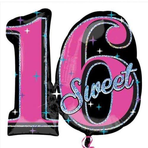 "Sweet 16 Sparkle SuperShape Foil Balloons  28"" x 26"""