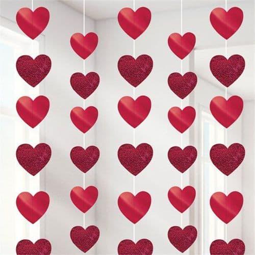 Valentine Red Heart String Decoration