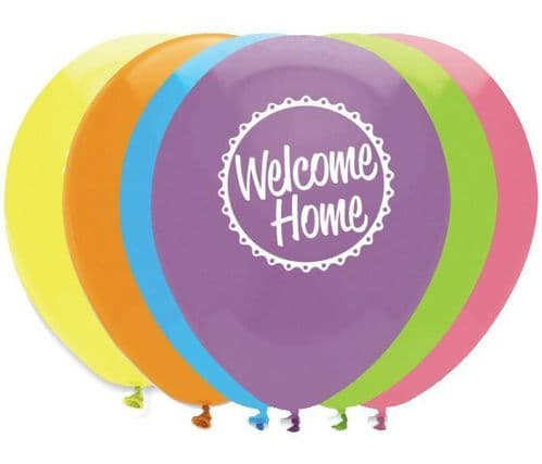 """Welcome Home Latex Balloons 2 Sided Print 6 x 12"""" per pack"""