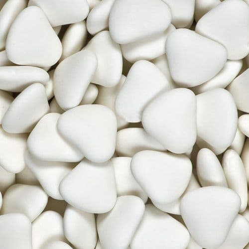White Chocolate Heart Dragees  - 30mm size approx - in box of 1kg