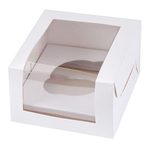 White Muffin/Cupcake Box + Insert  (holds 1 Cake) - pack of 2