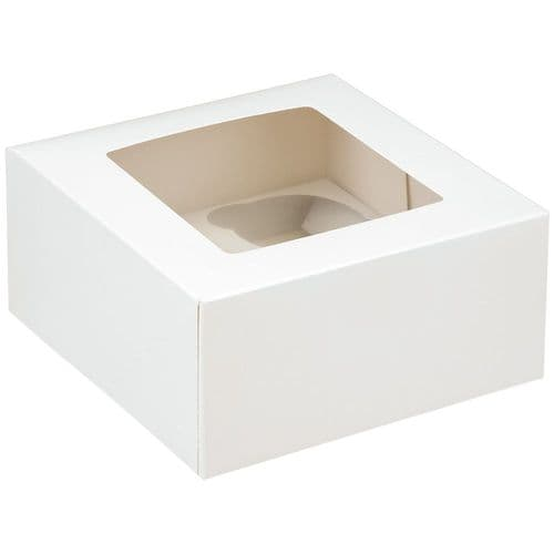 White Muffin /Cupcake Box + Insert (holds 4 Cakes) - pack of 2