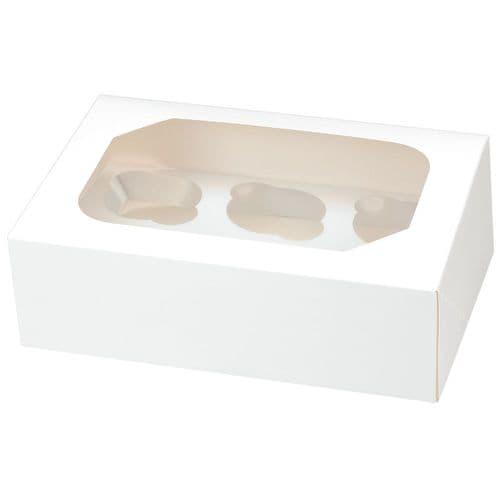 White Muffin /Cupcake Box + Insert  (holds 6 cakes) - pack of 2