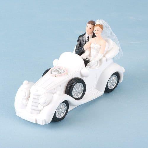 White Resin Bride & Groom in Car