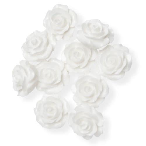White Resin Rose Flower - 14mm (10) - 6 packs