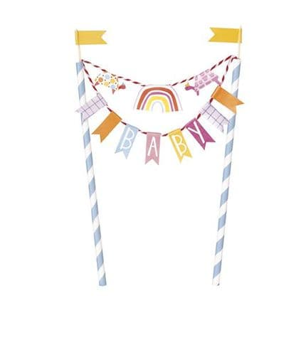Zoo Baby Shower Bunting Cake Topper