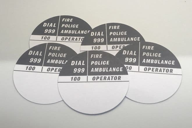 5 x Grey GPO 700 Series Telephone Number Cards