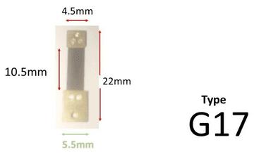 22mm x 10.5mm x 4.5mm - Type G17