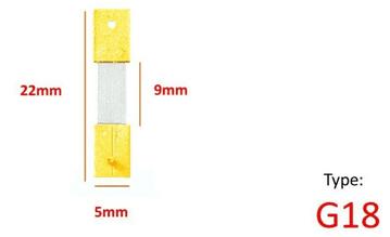 22mm x 9mm x 5mm - Type G18