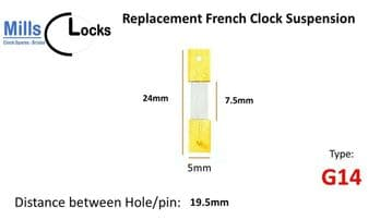 French Clock Suspension  - 24 x 7.5 x 5mm - Type G14